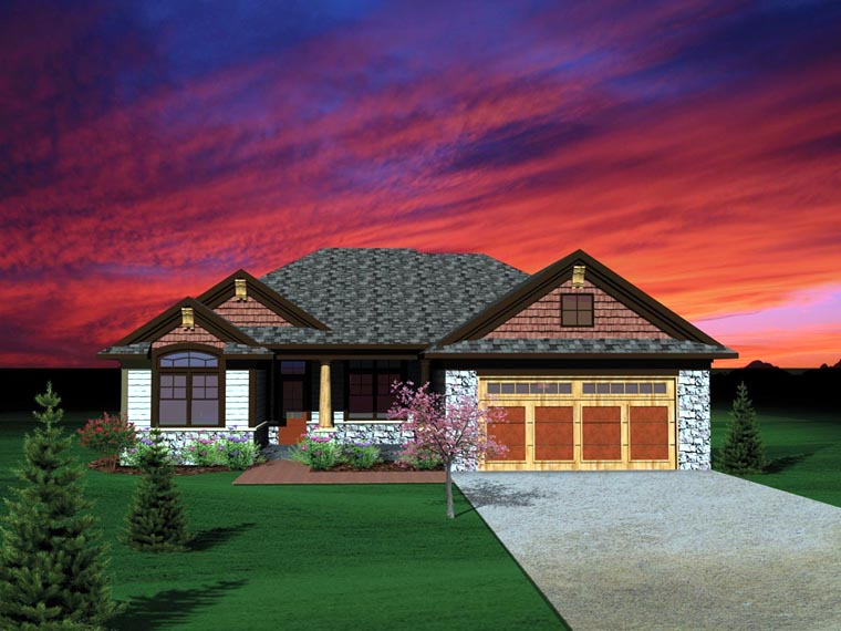 Ranch, Traditional House Plan 73136 with 2 Beds, 2 Baths, 2 Car Garage Elevation