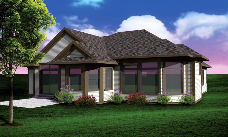 Ranch, Traditional House Plan 73136 with 2 Beds, 2 Baths, 2 Car Garage Rear Elevation