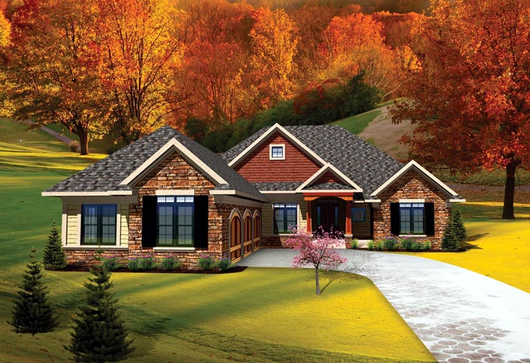 Ranch, Traditional House Plan 73141 with 3 Beds, 3 Baths, 3 Car Garage Elevation