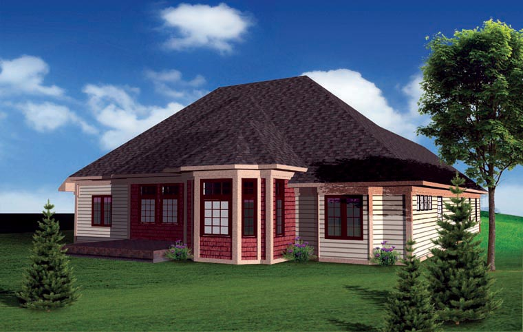 Ranch, Traditional House Plan 73141 with 3 Beds, 3 Baths, 3 Car Garage Rear Elevation
