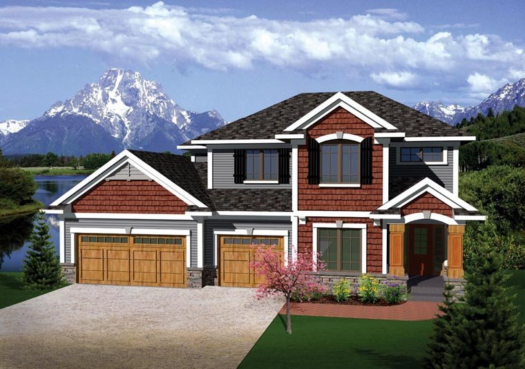 Prairie, Traditional House Plan 73144 with 4 Beds, 3 Baths, 3 Car Garage Elevation