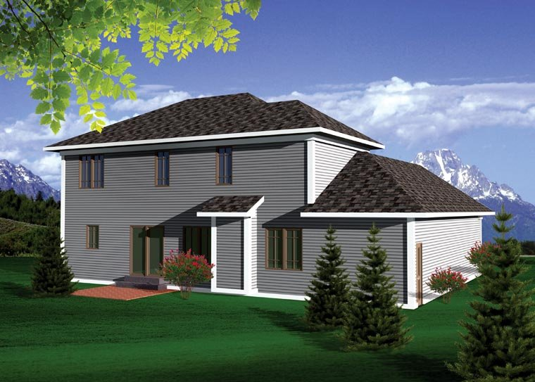 Prairie, Traditional House Plan 73144 with 4 Beds, 3 Baths, 3 Car Garage Rear Elevation