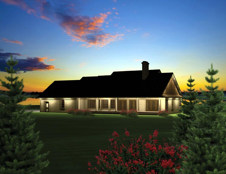 Ranch House Plan 73152 with 3 Beds, 2 Baths, 3 Car Garage Rear Elevation