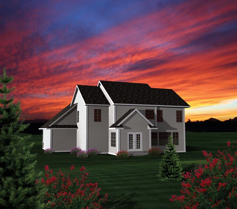 House Plan 73155 with 4 Beds, 3 Baths, 3 Car Garage Rear Elevation