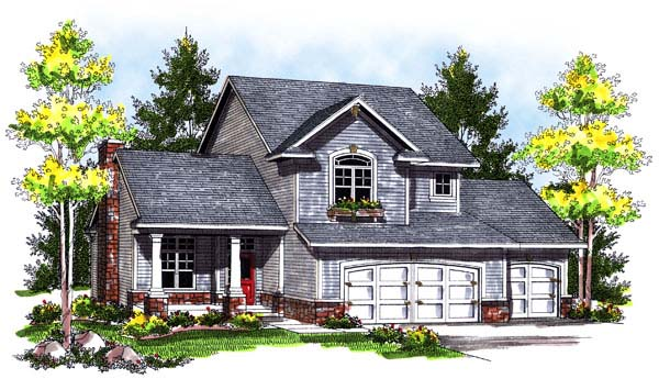 Traditional House Plan 73180 with 3 Beds, 3 Baths, 3 Car Garage Elevation