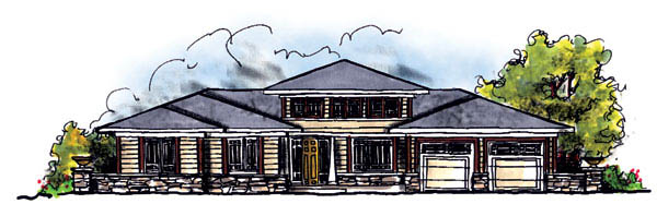 Prairie, Southwest House Plan 73219 with 3 Beds, 2 Baths, 3 Car Garage Front Elevation