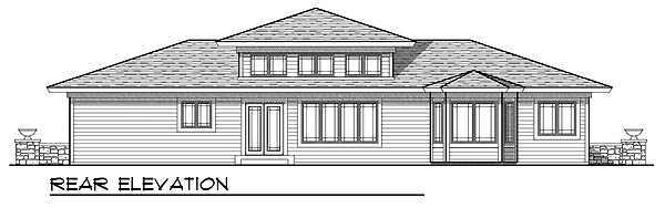 Prairie, Southwest House Plan 73219 with 3 Beds, 2 Baths, 3 Car Garage Rear Elevation
