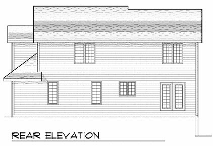 Contemporary House Plan 73221 with 4 Beds, 4 Baths, 2 Car Garage Rear Elevation