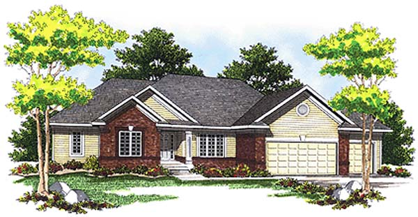 Traditional House Plan 73246 with 2 Beds, 2 Baths, 3 Car Garage Front Elevation