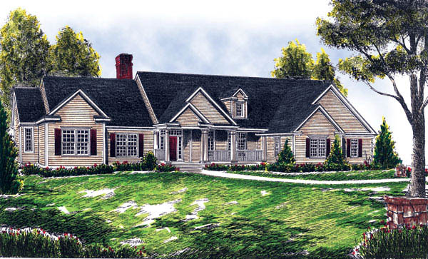 Country, One-Story, Ranch, Traditional House Plan 73258 with 4 Beds, 3 Baths, 3 Car Garage Elevation
