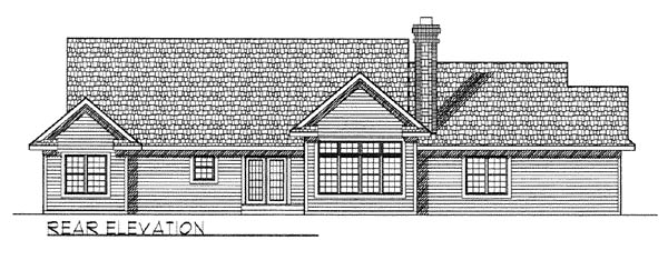 Country, One-Story, Ranch, Traditional House Plan 73258 with 4 Beds, 3 Baths, 3 Car Garage Rear Elevation