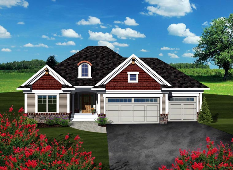 Ranch House Plan 73259 with 2 Beds, 2 Baths, 3 Car Garage Front Elevation