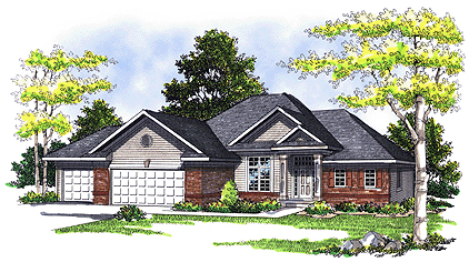 European, One-Story House Plan 73344 with 3 Beds, 3 Baths, 3 Car Garage Elevation