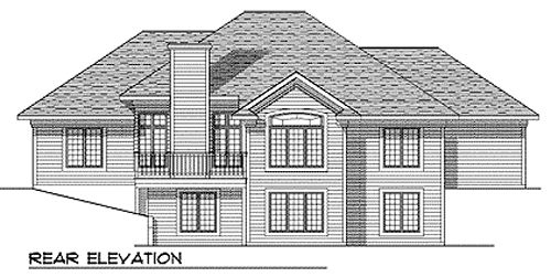 European, One-Story House Plan 73344 with 3 Beds, 3 Baths, 3 Car Garage Rear Elevation