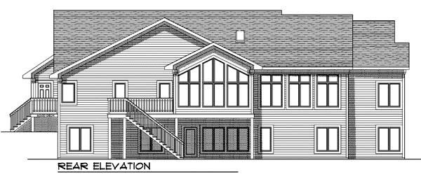 One-Story, Traditional House Plan 73368 with 2 Beds, 3 Baths, 3 Car Garage Rear Elevation