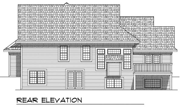 One-Story, Traditional House Plan 73371 with 3 Beds, 3 Baths, 3 Car Garage Rear Elevation