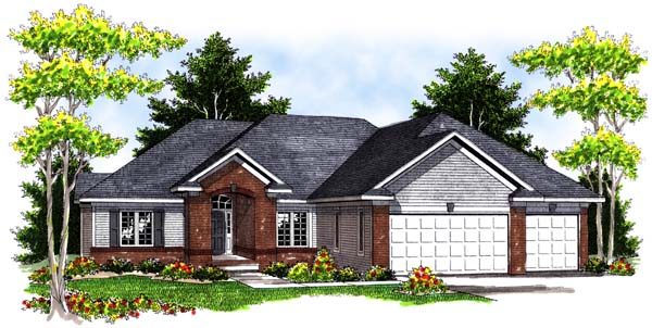 One-Story, Traditional House Plan 73398 with 3 Beds, 3 Baths, 3 Car Garage Elevation