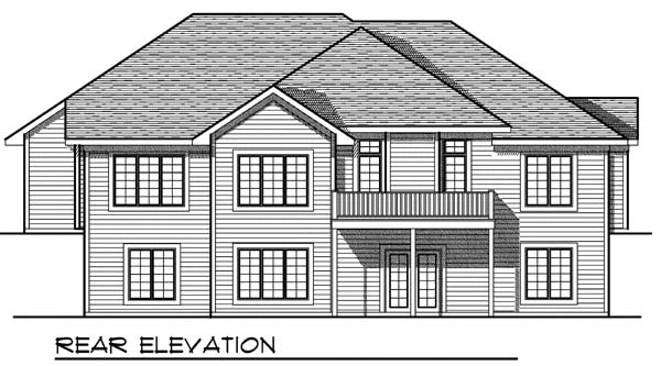 One-Story, Traditional House Plan 73398 with 3 Beds, 3 Baths, 3 Car Garage Rear Elevation