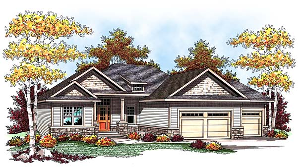 One-Story, Traditional House Plan 73425 with 5 Beds, 3 Baths, 3 Car Garage Front Elevation