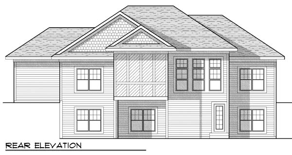 One-Story, Traditional House Plan 73425 with 5 Beds, 3 Baths, 3 Car Garage Rear Elevation