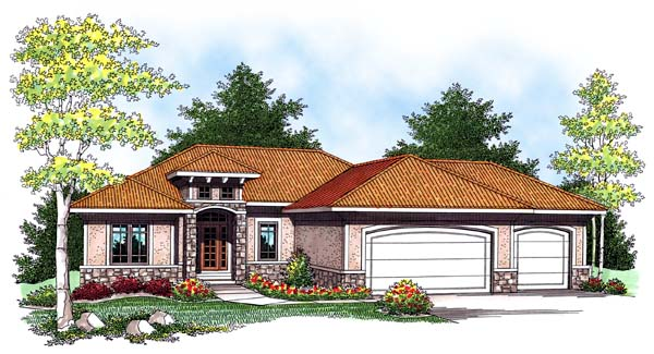 Contemporary, Mediterranean House Plan 73439 with 3 Beds, 2 Baths, 3 Car Garage Elevation