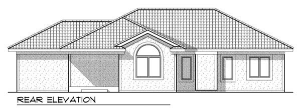 Contemporary, Mediterranean House Plan 73439 with 3 Beds, 2 Baths, 3 Car Garage Rear Elevation