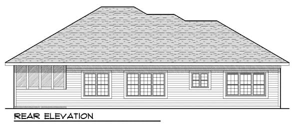One-Story, Traditional House Plan 73440 with 3 Beds, 3 Baths, 3 Car Garage Rear Elevation