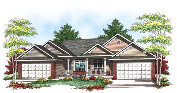 Ranch, Traditional Multi-Family Plan 73457 with 4 Beds, 4 Baths, 4 Car Garage Elevation