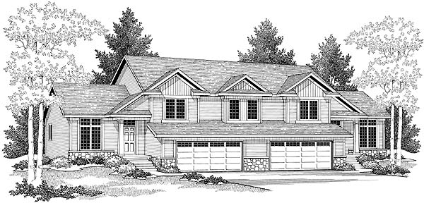 Traditional Multi-Family Plan 73475 with 6 Beds, 6 Baths, 4 Car Garage Elevation