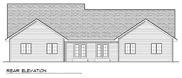 Traditional Multi-Family Plan 73478 with 4 Beds, 4 Baths, 4 Car Garage Rear Elevation