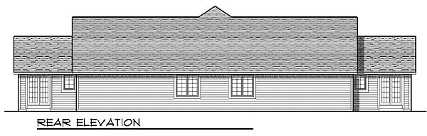 Ranch Multi-Family Plan 73479 with 4 Beds, 4 Baths, 4 Car Garage Rear Elevation
