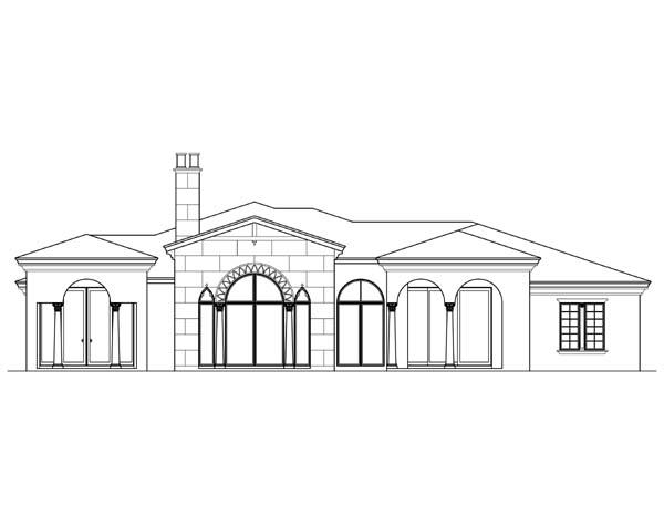 Florida, Mediterranean House Plan 73607 with 4 Beds, 6 Baths, 3 Car Garage Rear Elevation