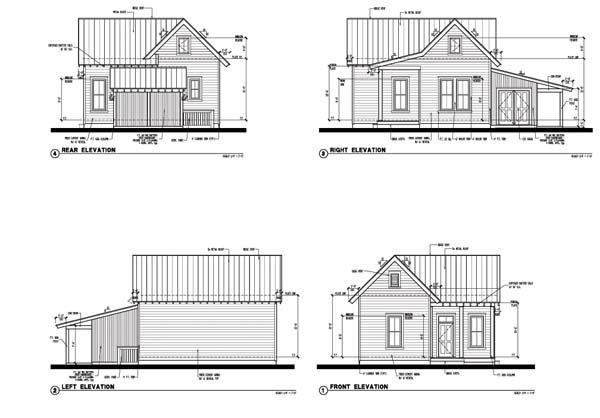 Cabin, Country, Farmhouse, Historic House Plan 73799 with 2 Beds, 1 Baths Rear Elevation