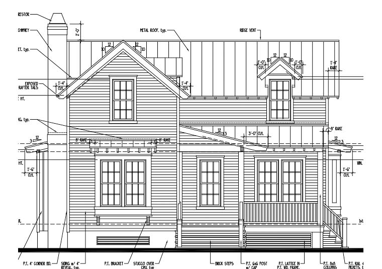 Country, Historic House Plan 73850 with 2 Beds, 3 Baths Elevation