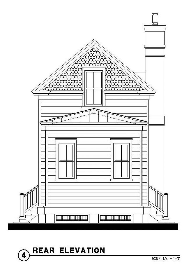 Country, Historic House Plan 73875 with 2 Beds, 2 Baths Rear Elevation
