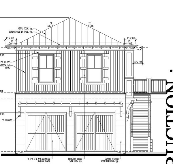 Country, Historic House Plan 73881 with 2 Beds, 1 Baths, 2 Car Garage Rear Elevation