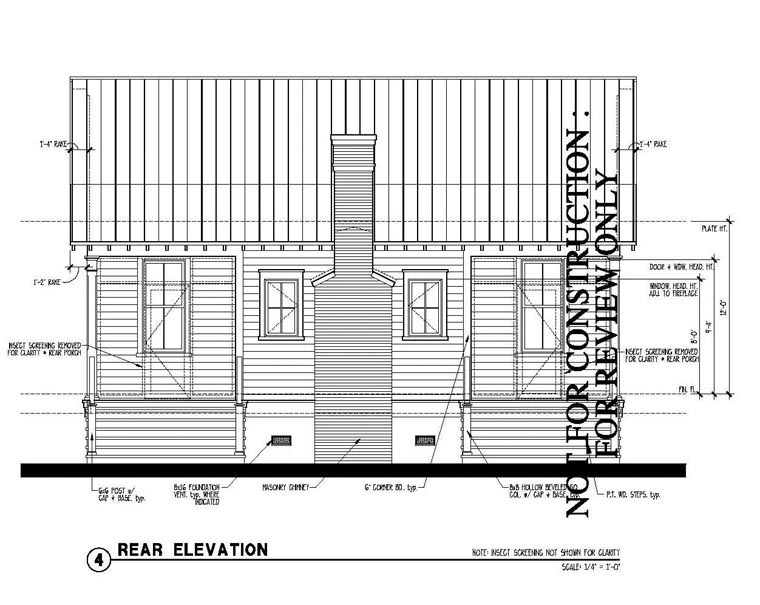 Country, Historic House Plan 73887 with 2 Beds, 2 Baths Rear Elevation