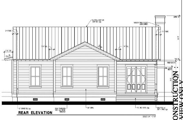 Country, Historic House Plan 73888 with 3 Beds, 2 Baths Rear Elevation