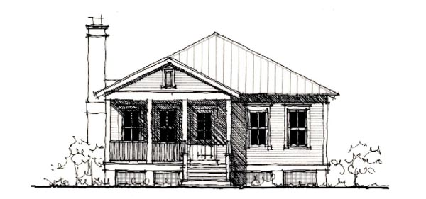 Country, Historic House Plan 73891 with 2 Beds, 2 Baths Elevation
