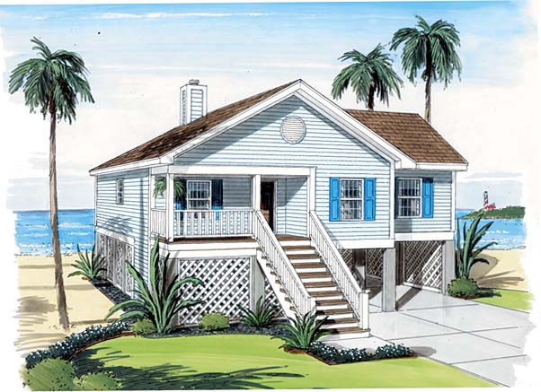 Coastal, Traditional House Plan 74006 with 3 Beds, 2 Baths, 2 Car Garage Front Elevation