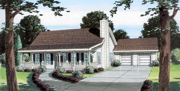 Ranch, Traditional House Plan 74008 with 3 Beds, 2 Baths, 2 Car Garage Elevation