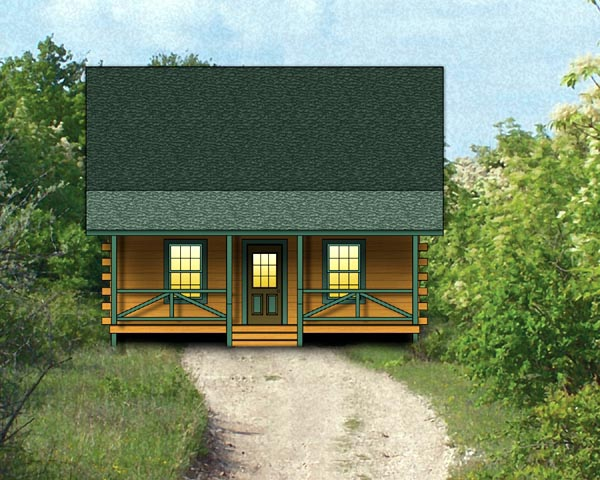 Log, Narrow Lot House Plan 74104 with 2 Beds, 1 Baths Front Elevation