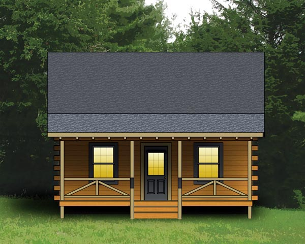 Log, Narrow Lot House Plan 74105 with 2 Beds, 1 Baths Front Elevation