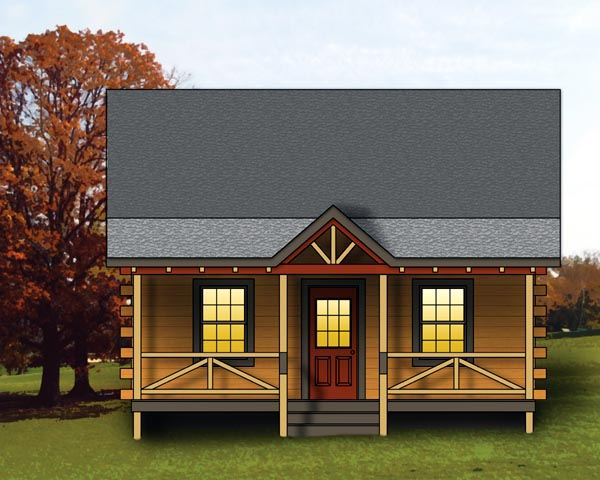 Log, Narrow Lot House Plan 74108 with 1 Beds, 1 Baths Front Elevation