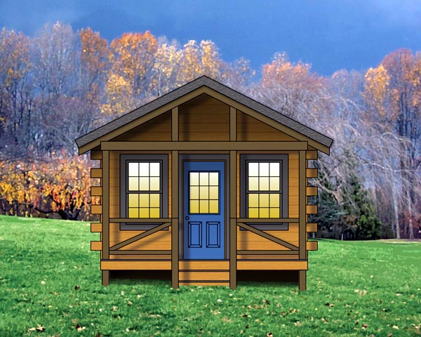 Cabin, Cottage, Log, Narrow Lot, One-Story House Plan 74111 with 1 Beds, 1 Baths Front Elevation