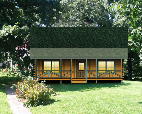 Log, Narrow Lot House Plan 74112 with 2 Beds, 1 Baths Elevation