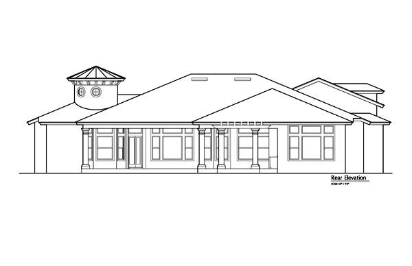 Mediterranean, Southwest House Plan 74211 with 5 Beds, 7 Baths, 3 Car Garage Rear Elevation