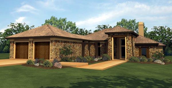 Mediterranean House Plan 74501 with 4 Beds, 4 Baths, 2 Car Garage Elevation