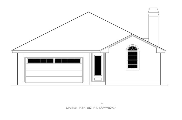 Cottage, Traditional House Plan 74503 with 3 Beds, 2 Baths, 2 Car Garage Picture 2
