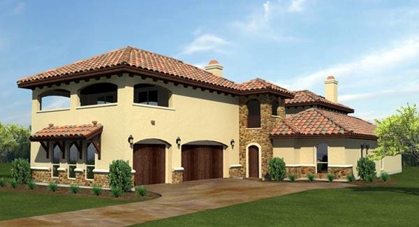 Mediterranean House Plan 74505 with 4 Beds, 5 Baths, 3 Car Garage Elevation